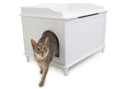 Cat Washroom Bench Litter Box Enclosure Home